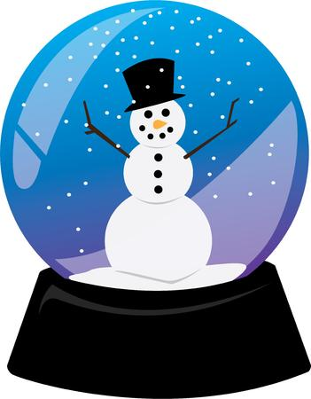 jack frost: Celebrate winter with a snowman in a snowglobe. Illustration