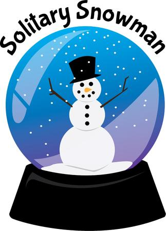 sculptures: Celebrate winter with a snowman in a snowglobe. Illustration