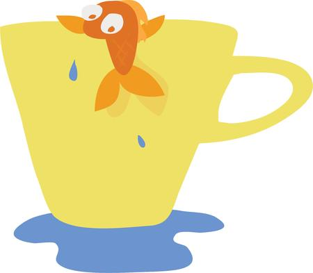 fishy: Use this humorous fishy cup design on your funny project.