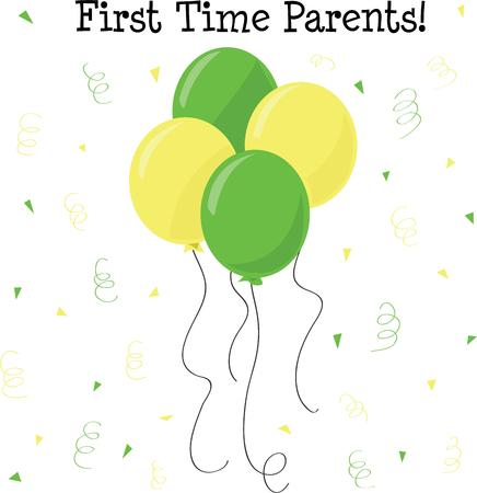 new baby: Celebrate the arrival of a new baby with these balloons. Illustration
