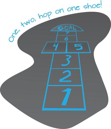hopscotch: Children love to play games outside and will have fun with hopscotch.