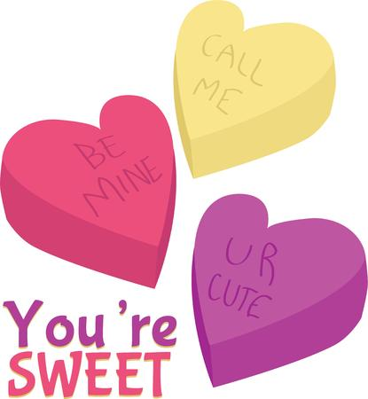 call me: Use these candy hearts for your Valentine project.