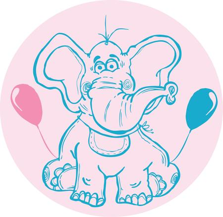 reveal: Use this elephant design for birth announcement or a gender reveal.