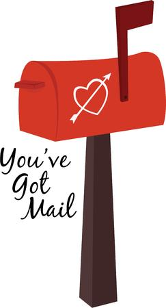 admirer: Use this heart mailbox on your Valentine project. Illustration