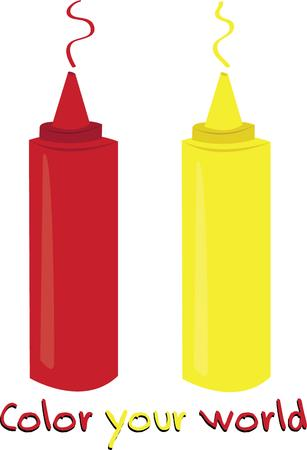 condiment: Use this ketchup and mustard design on a picnic napkin or table cloth. Illustration