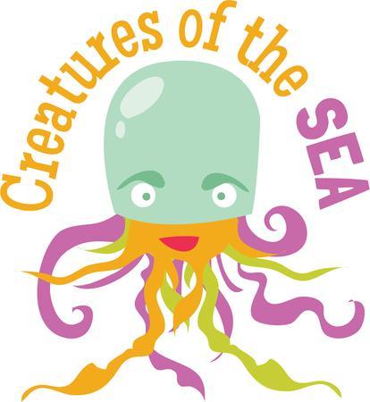 楽しんで: Have fun at the beach with a silly jellyfish.