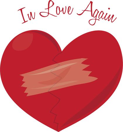 mended: Show your mended heart for valentines day. Illustration