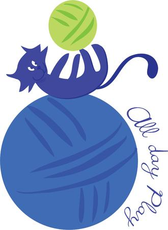 yarn: Cats love to play with balls of yarn. Illustration