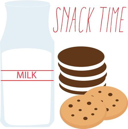 milk and cookies: Use this milk and cookies design for your snack project.