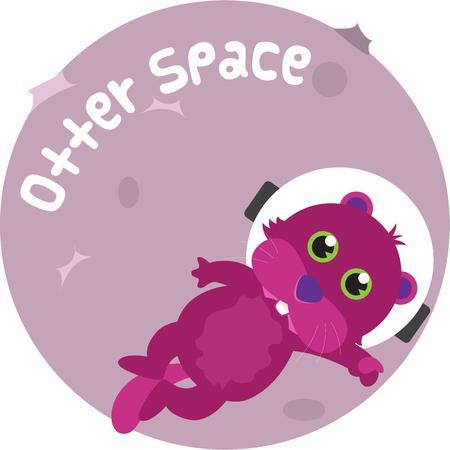 loutre: Utilisez cette astronaute loutre pour votre projet lunaire. Illustration