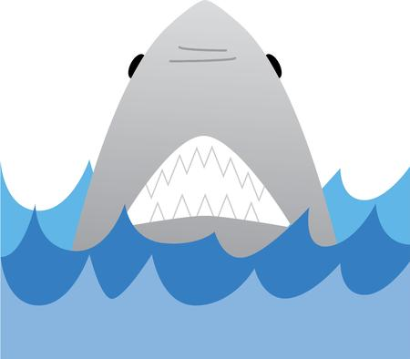 great white: Enjoy a swim in the ocean with a great white shark. Illustration