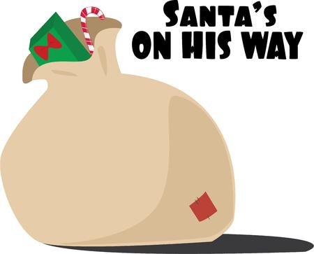 toy sack: Help Santa deliver gifts with a sack of presents. Illustration