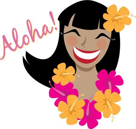 say hello: Say hello Hawaiian style with a tropical lady. Illustration