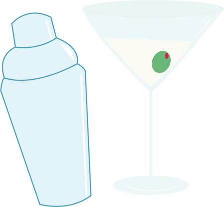 martini shaker: Have a martini for cocktail hour. Illustration