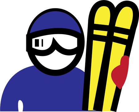 slope: Use this ski man in your winter slope project.