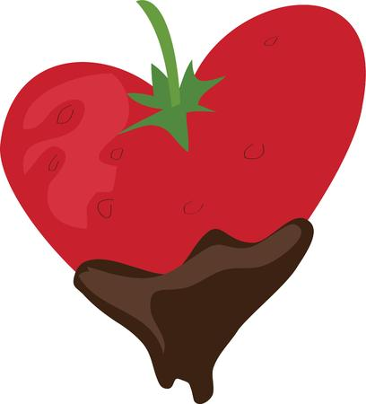 coated: Use this chocolate dipped strawberry for your sweet project. Illustration