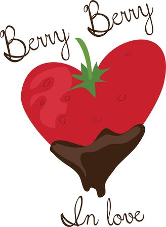 dipped: Use this chocolate dipped strawberry for your sweet project. Illustration