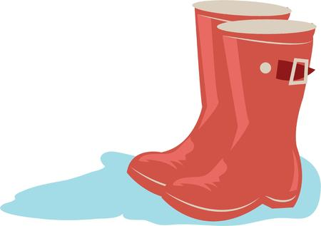 galoshes: Use this boots design for your rainy project. Illustration