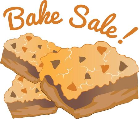 bake sale: Advertise delicious layer bars with a great design. Illustration