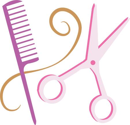 beautician: A beautician or barber will like to show off their skills with these tools. Illustration