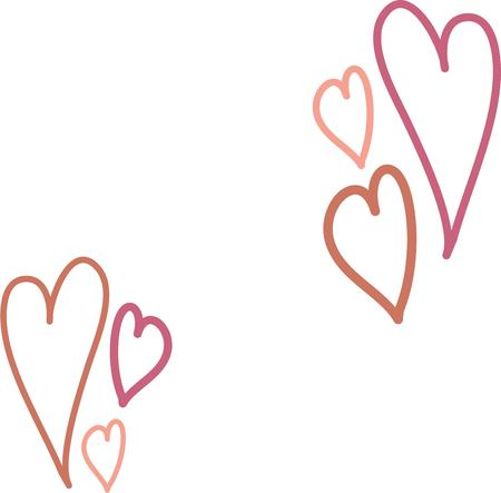 fanciful: Send a valentine message to your loved one with fanciful hearts. Illustration