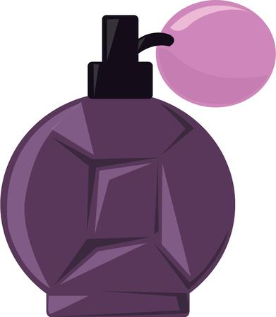 eau de toilette: A perfume bottle is a great addition to a ladys dressing table. Illustration