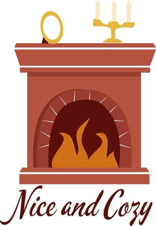 mantle: Add a nice warm fireplace for some winter warmth. Illustration