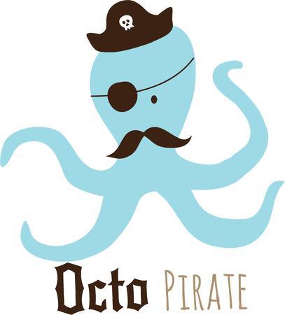 楽しんで: Have fun on the beach with an octopus pirate.
