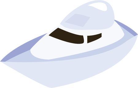 speed boat: Divi�rtete en el agua con una lancha r�pida. Vectores