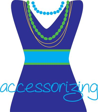 pretty dress: Show your love for fashion with a pretty dress and jewelry. Illustration