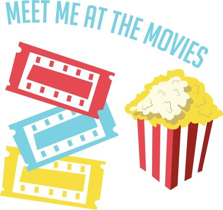 stub: Have popcorn for a movie night project. Illustration