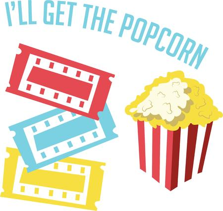 buttered: Have popcorn for a movie night project. Illustration