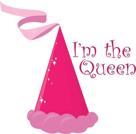 kleine meisjes: Kleine meisjes zijn prinses en ze zullen graag deze mooie hoed. Stock Illustratie