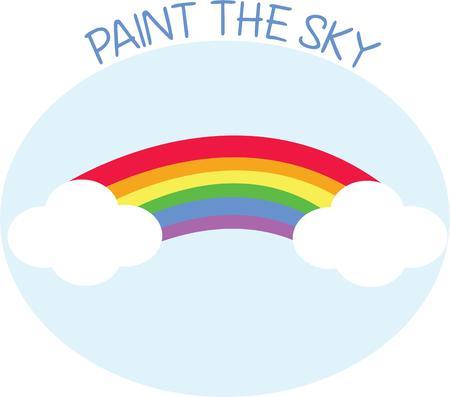 rainbow sky: A pretty rainbow makes the sky colorful.