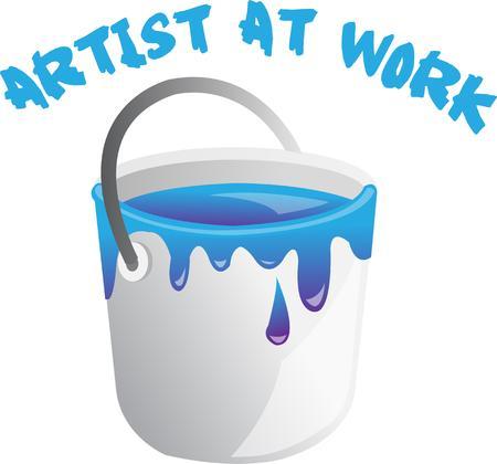 楽しんで: Painters will have fun with this bucket of paint.  イラスト・ベクター素材