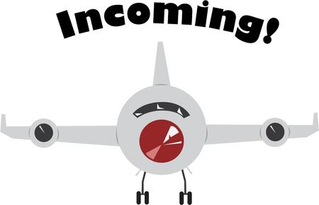 楽しんで: Air travelers will have fun with a plane in flight.  イラスト・ベクター素材