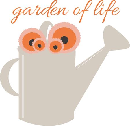 tuinontwerp: Add a water can to a garden design for added embellishment. Stock Illustratie