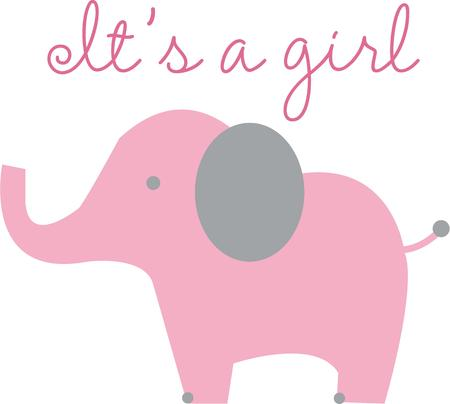 pachyderm: Make a pink elephant for a little girl. Illustration