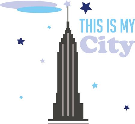 big apple: Show your love for the big apple with the empire state building. Illustration