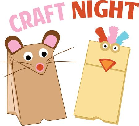 puppets: Make play time fun with some paper bag puppets. Illustration