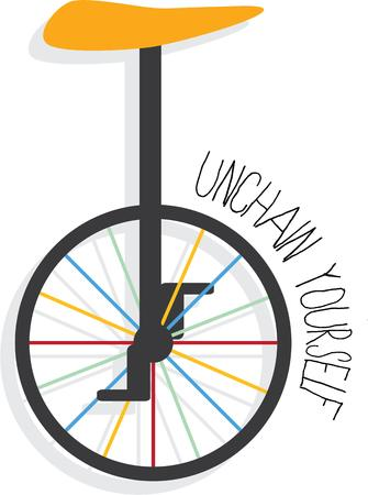 one wheel bike: Your unique son will love this unicycle. Illustration