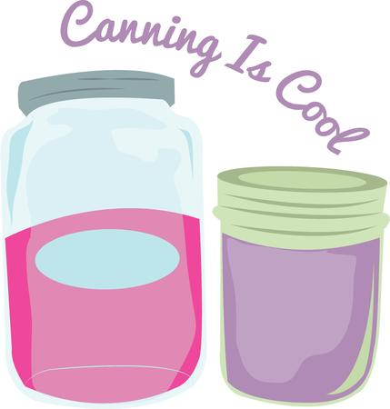 canning: Great cooks love to put up fruits and vegetables and need good canning jars. Illustration