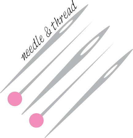 needles: Use these pins and needles for your seamstress. Illustration