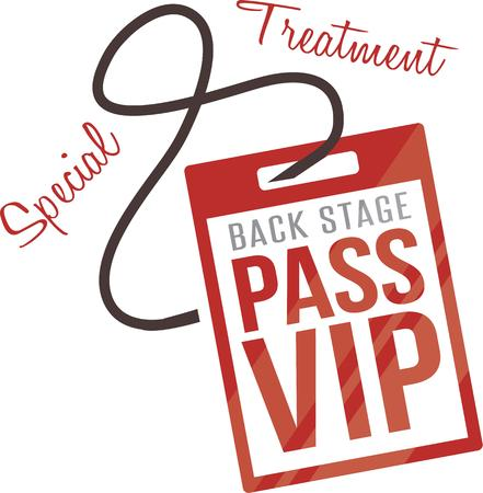 exciting: Use this back stage pass design to commemorate your exciting evening.