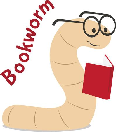 bookworm: Readers will love this cute bookworm. Illustration