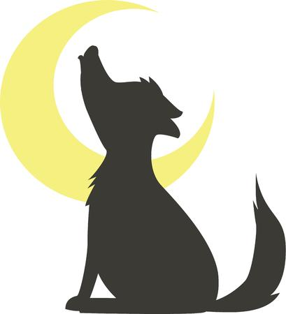lupus: Have a fun night time scene with a howling wolf. Illustration