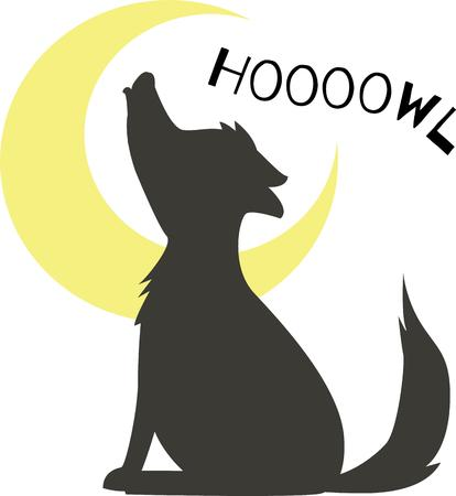 dingo: Have a fun night time scene with a howling wolf. Illustration