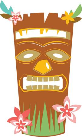 tiki: Celebrate the tropics with this tiki mask design.