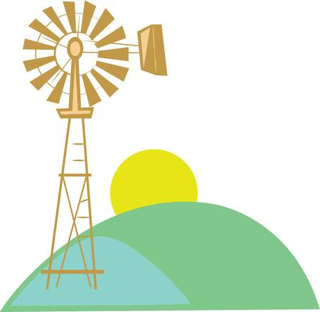 clean energy: Share your support for clean energy with this windmill. Illustration