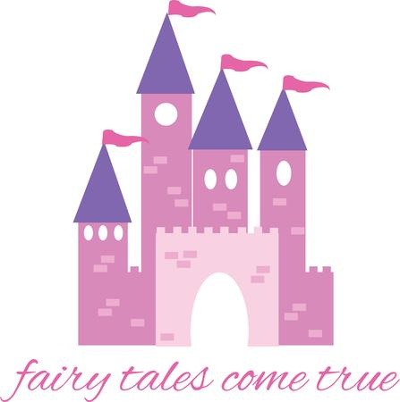 citadel: A fairytale castle will be perfect for any little girl. Illustration